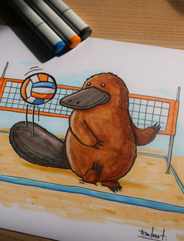 Drawing #002: Platypus playing beach volley