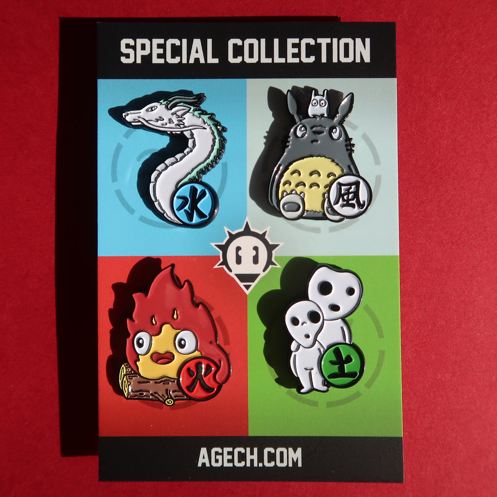 Elemental Charms Enamel Pins. Set of 4