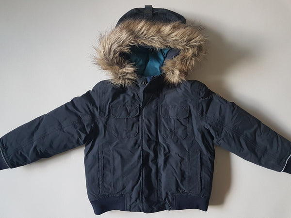 (3-4Y/102-104) Aigle blue winter jacket with hoody