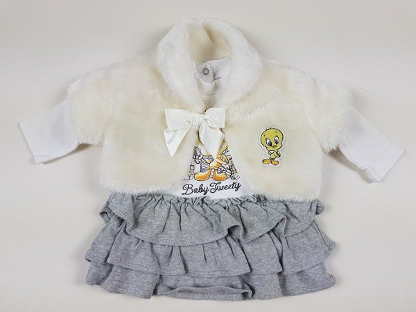 (6-9m) Tweety dress with fur gillet *NEW