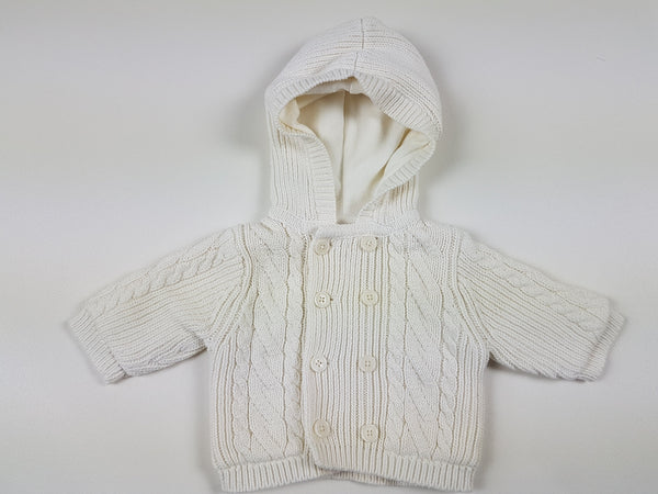 (0-3m) BabyGap hooded double knit warm button up cardigan *NEW