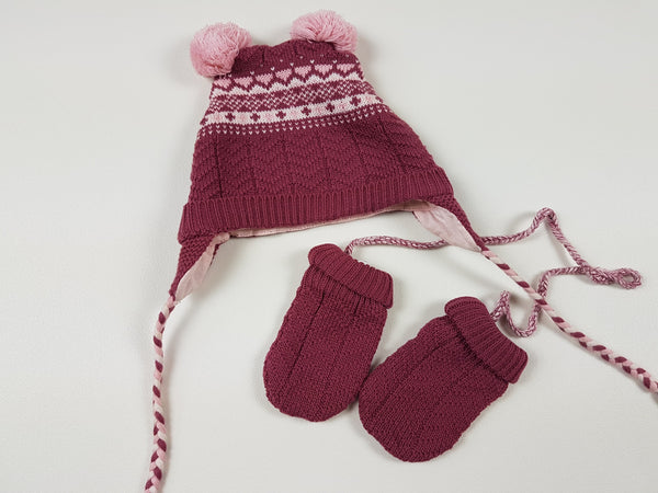 (18M) Sergent Major burgundy hat & mitten set