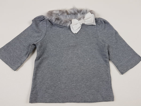 (12-18M) Janie & Jack grey mid sleeve top with faux fur collar