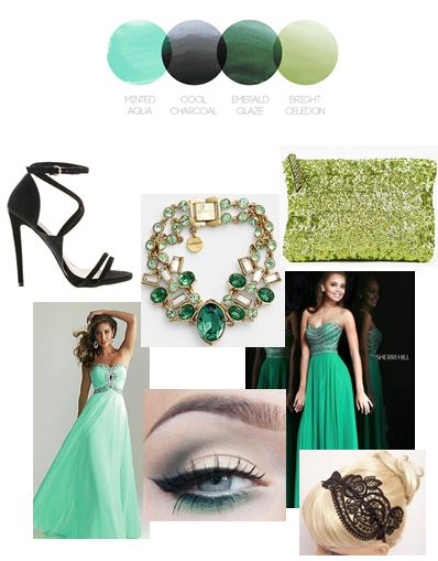 Mint and Emerald | Color Story | Prom Inspiration Board