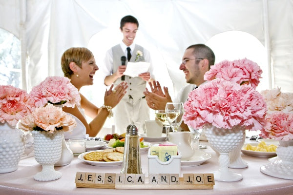 Pink and coral carnation wedding