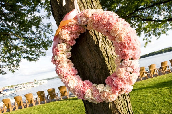 pink and coral carnation wreath