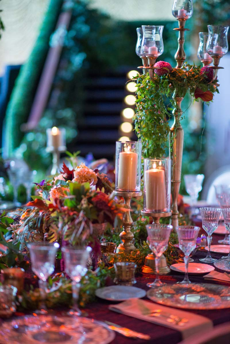 Candelabra centerpiece with greenery
