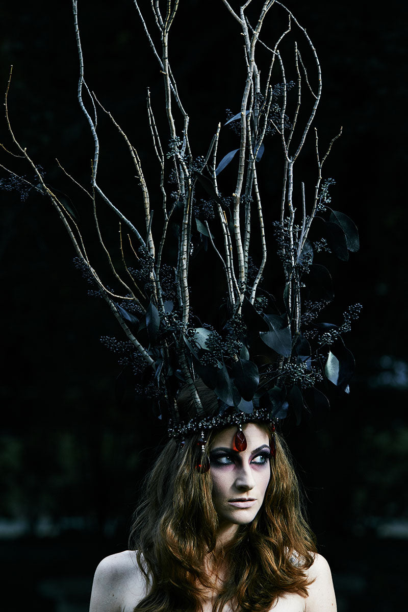 Photo shoot of head pieces provided by Stacey K Foral, Rochester, NY. Hair and makeup by Mary Wilmot. In this photo, model Mary Wilmot.  Photo by Brandon Vick Photography LLC http://brandonvickphotography.com/