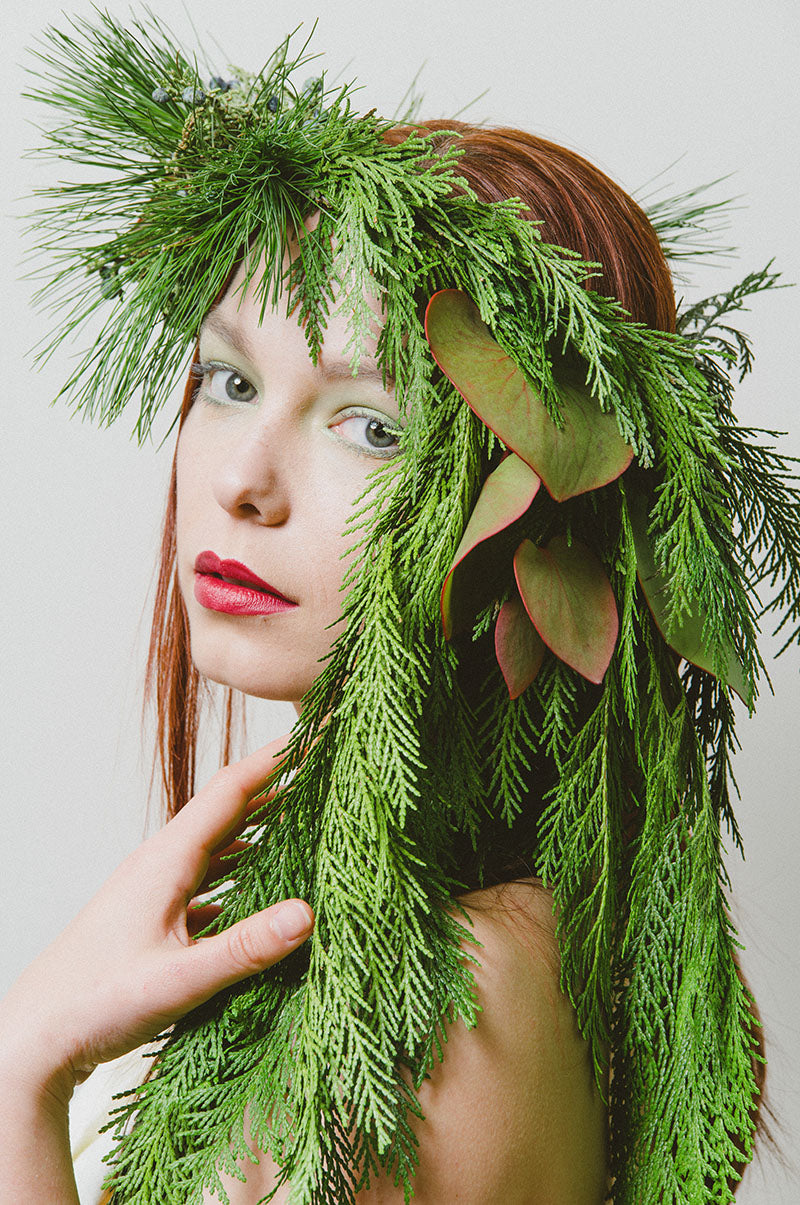 In this photo, studio portrait of model Kelly Ernst, Highland Park, Rochester, NY.  Photo by Brandon Vick Photography LLC http://brandonvickphotography.com/ Headpice by Stacey K Floral  http://www.stacykfloral.com/ Hair and makeup by Mary Wilmot, Addicted Artistry http://addictedartistry.com/