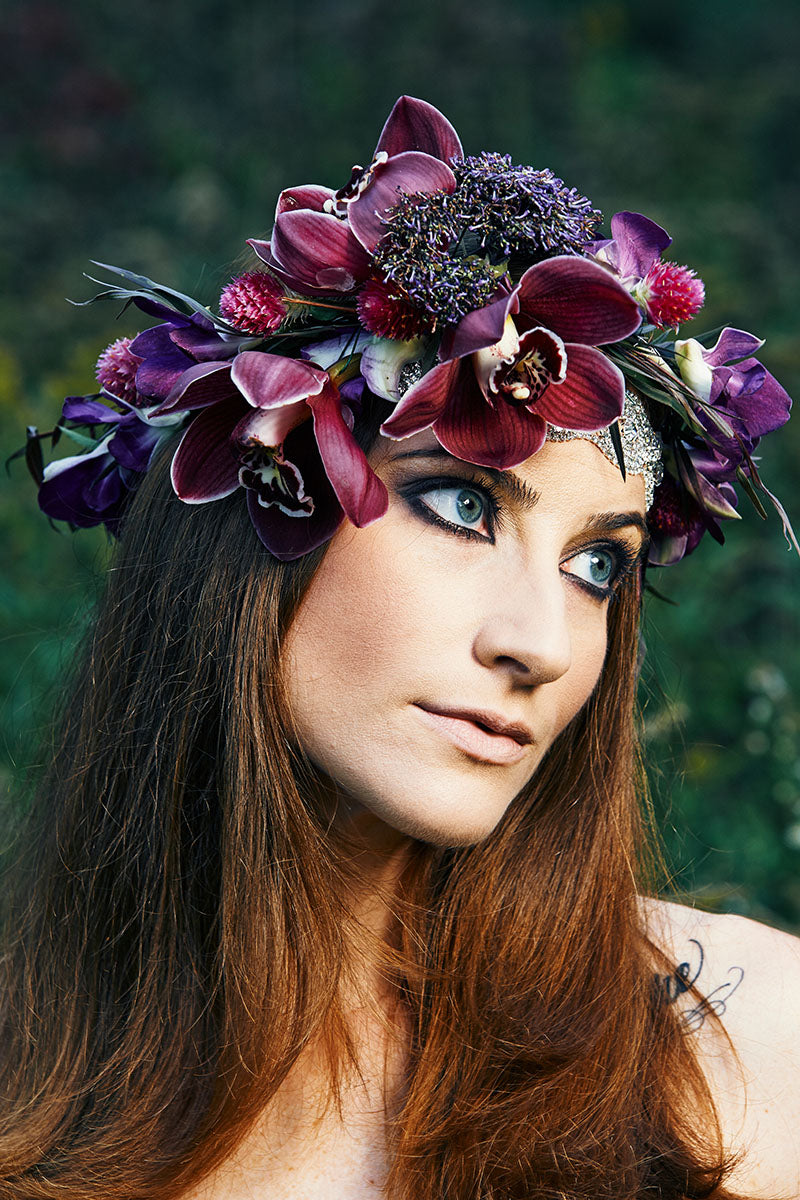In this photo, model Mary Wilmot wears a headpiece made by Stacey K Floral, Keuka Lake State Park, Keuka Park, NY 14478.  Photo by Brandon Vick Photography LLC http://brandonvickphotography.com/ Hair and makeup by Mary Wilmot/Addicted Artistry Flora arrangements and jewelry by Stacey K Foral http://www.stacykfloral.com/ ///