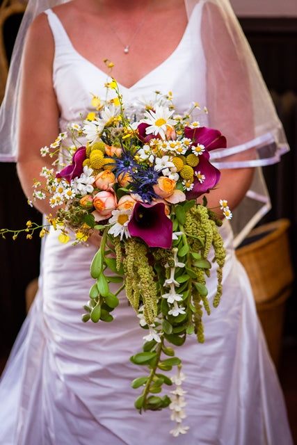 Cascading bouquet. Yellow and Green wedding by Stacy K Floral, photo by Kracke Photography at Esperanza Mansion, Keuka Lake
