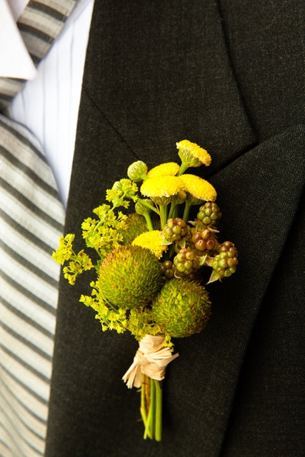 Spring Boutonniere. Yellow and Green Wedding by Stacy K Floral, photo by Kracke Photography at Esperanza Mansion, Keuka Lake