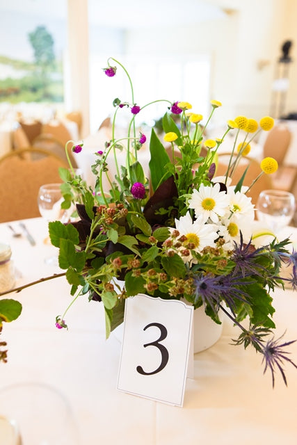 Yellow and Green wildflower centerpiece by Stacy K Floral, photo by Kracke Photography at Esperanza Mansion, Keuka Lake