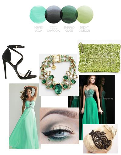 Mint and Emerald | Color Story | Prom Inspiration Board | by Stacy K Floral