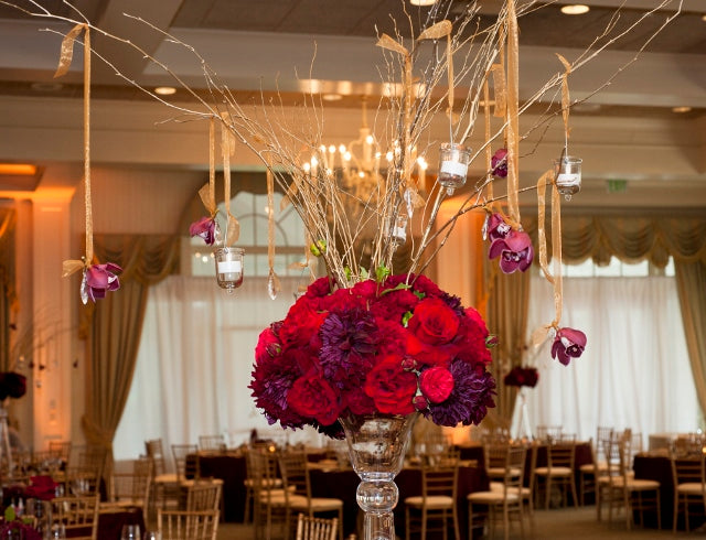 Red and Gold Wedding centerpiece | flowers by Stacy K Floral | pictures by Redstone Studios | Ceremony at Chapel Hill, Rochester NY | Reception at Monroe Golf Club