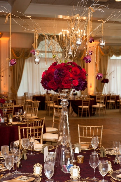 Tall centerpiece for a Red and Gold Wedding | flowers by Stacy K Floral | pictures by Redstone Studios | specialty rentals by Simply Beautiful Events | Ceremony at Chapel Hill, Rochester NY | Reception at Monroe Golf Club