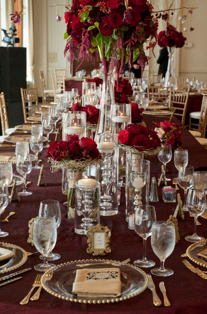 Head table decor | flowers and decor by Stacy K Floral | pictures by Redstone Studios | specialty rentals by Simply Beautiful Events | Ceremony at Chapel Hill, Rochester NY | Reception at Monroe Golf Club
