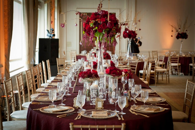 Head Table Floral and Decor for a Red and Gold Wedding | flowers by Stacy K Floral | pictures by Redstone Studios | specialty rentals by Simply Beautiful Events | Ceremony at Chapel Hill, Rochester NY | Reception at Monroe Golf Club