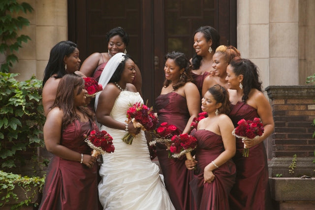 Bridal party bouquets | Red and Gold Wedding | flowers by Stacy K Floral | pictures by Redstone Studios | Ceremony at Chapel Hill, Rochester NY
