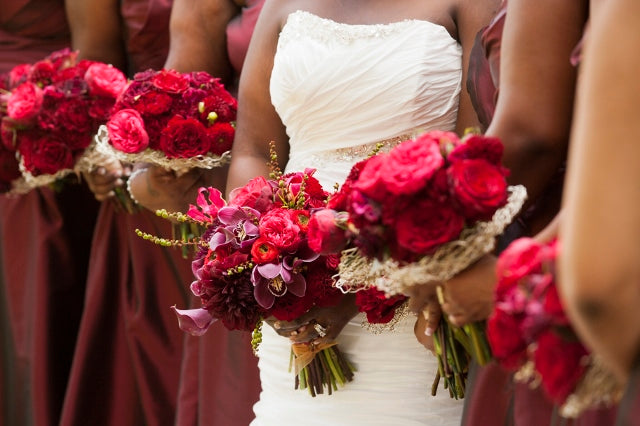Red Wedding Bouquets | flowers by Stacy K Floral | pictures by Redstone Studios | Ceremony at Chapel Hill, Rochester NY