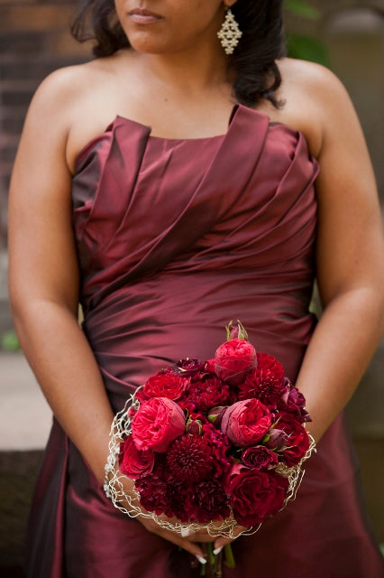 Red Bridesmaid bouquet | flowers by Stacy K Floral | pictures by Redstone Studios | Ceremony at Chapel Hill, Rochester NY