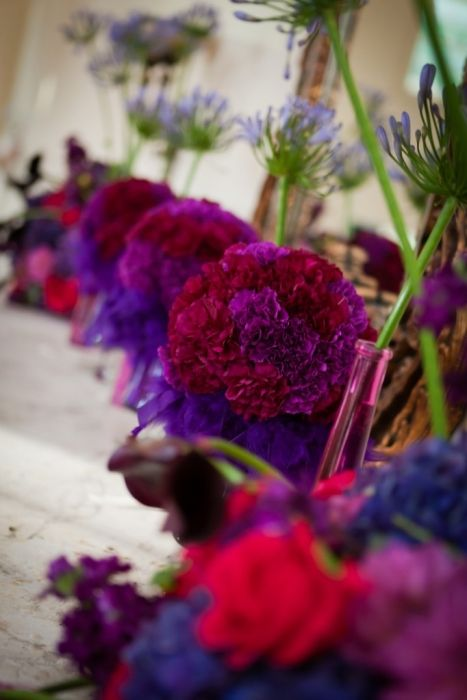 Different floral designs, magenta and plum carnation centerpiece, Kracke Photography, Esperanza Mansion. Keuka Lake wedding