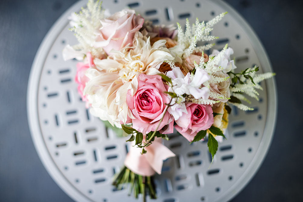 wedding bouquet with pink