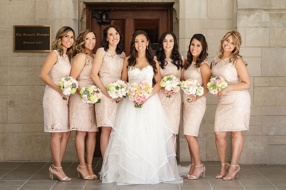 short peach bridesmaid dresses
