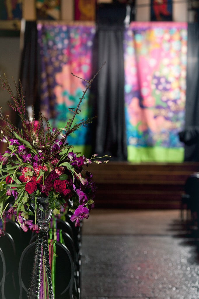 Ceremony decor for an Artistic Wedding | floral by Stacy K Floral | photographed by Tammy Swales Photography | venue at Artisan Works | Jewel Tone Wedding