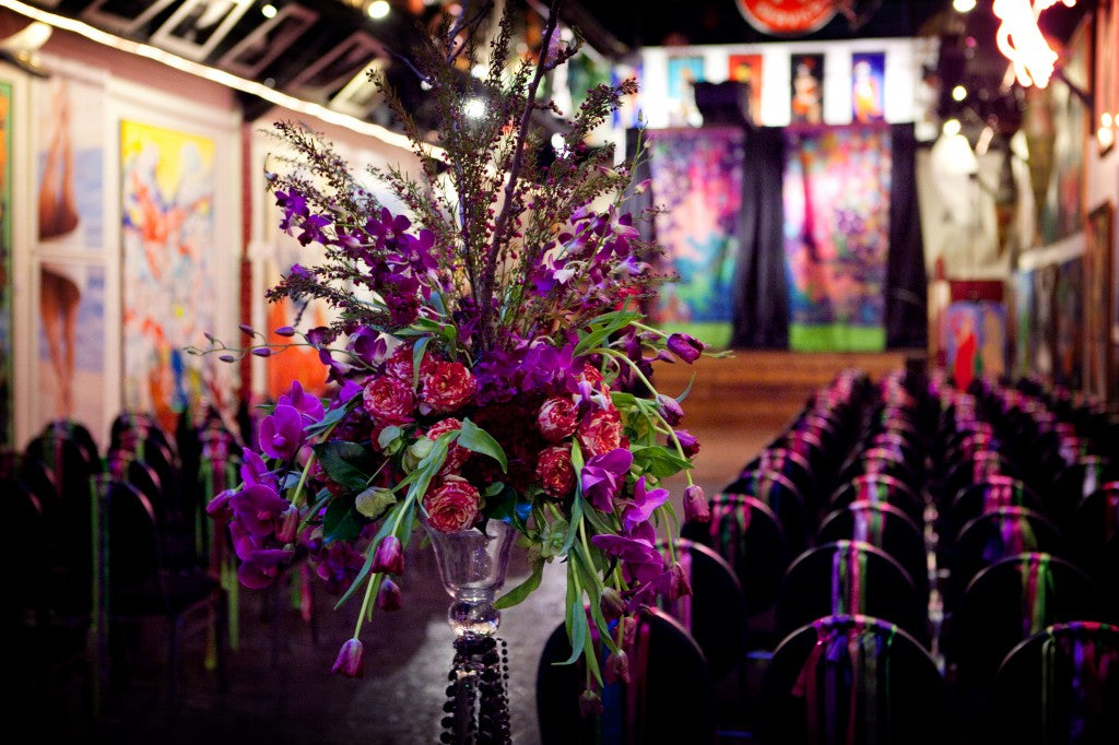 Aisle decor for an Artistic Wedding | floral by Stacy K Floral | photographed by Tammy Swales Photography | venue at Artisan Works | Jewel Tone Wedding