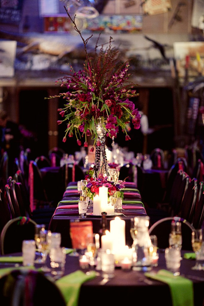 Tall Centerpieces for an Artistic Wedding | floral by Stacy K Floral | photographed by Tammy Swales Photography | venue at Artisan Works | Jewel Tone Wedding