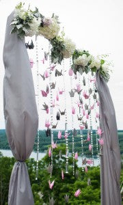 Stacy K Floral Pink and Gray Wedding Backdrop, shot by Tammy Swales Photography at the Esperanza Mansion, Finger Lakes