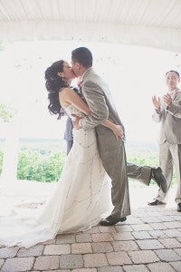 First Kiss! Pink and gray wedding; floral by Stacy K Floral, shot by Tammy Swales Photography at the Esperanza Mansion, Finger Lakes