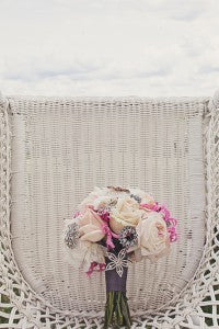 Pink and gray wedding bouquet. Floral by Stacy K Floral, shot by Tammy Swales Photography at the Esperanza Mansion, Finger Lakes
