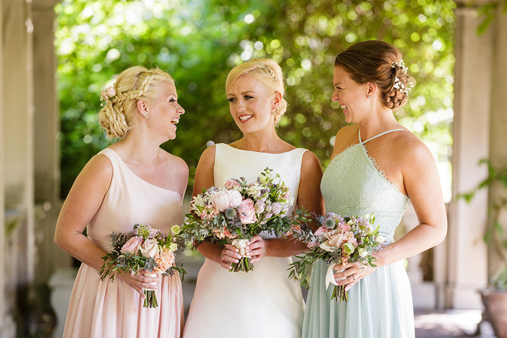 blush, green and soft blue bouquets