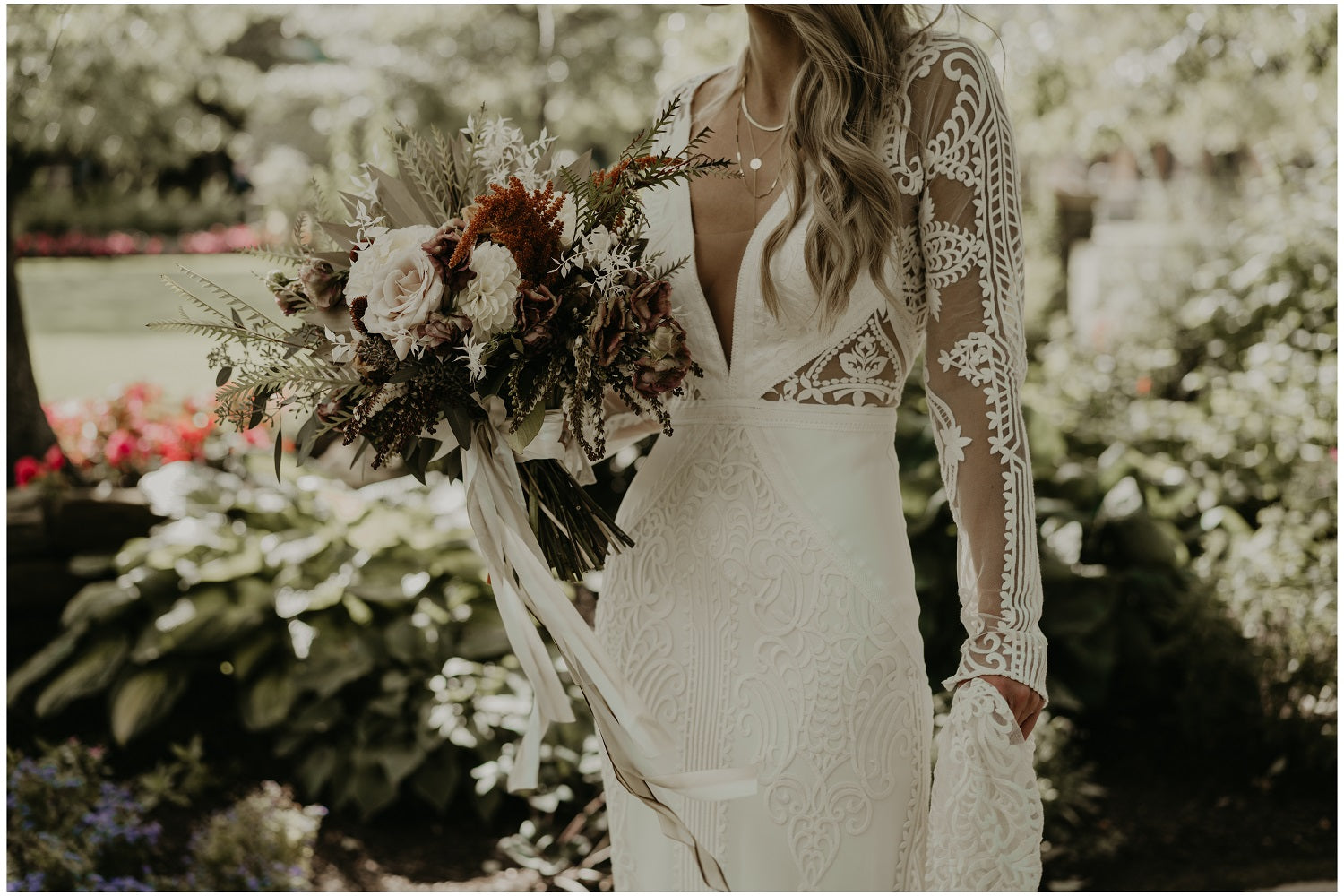 Boho Lace dress by lover society with beige and white bouquet