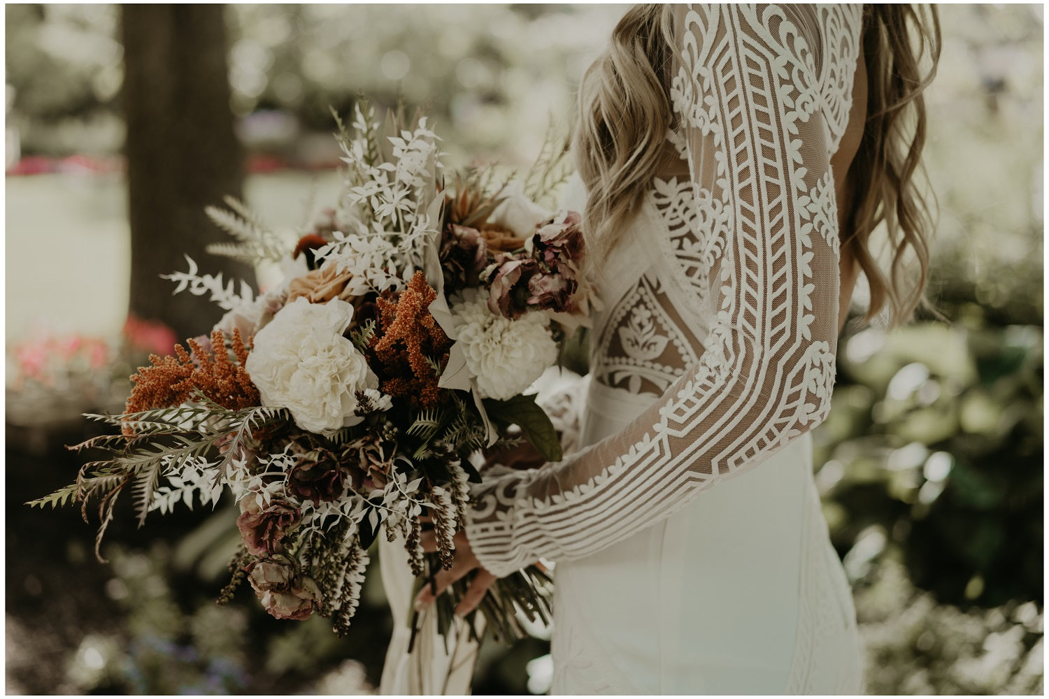 Dried and fresh flower boho bouquet dress by Lovers Society from Lovely Bride Rochester