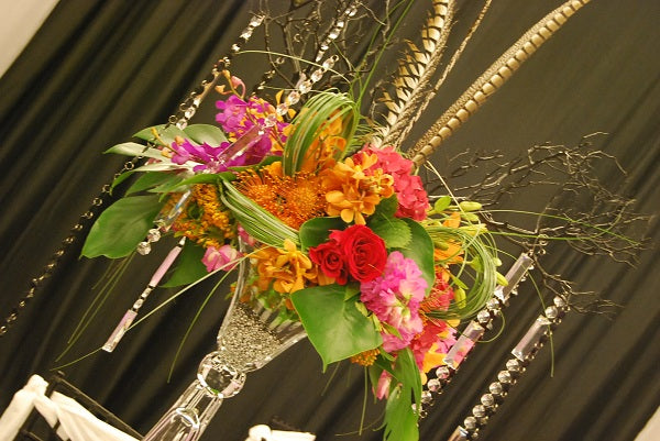 tall pink and orange centerpiece
