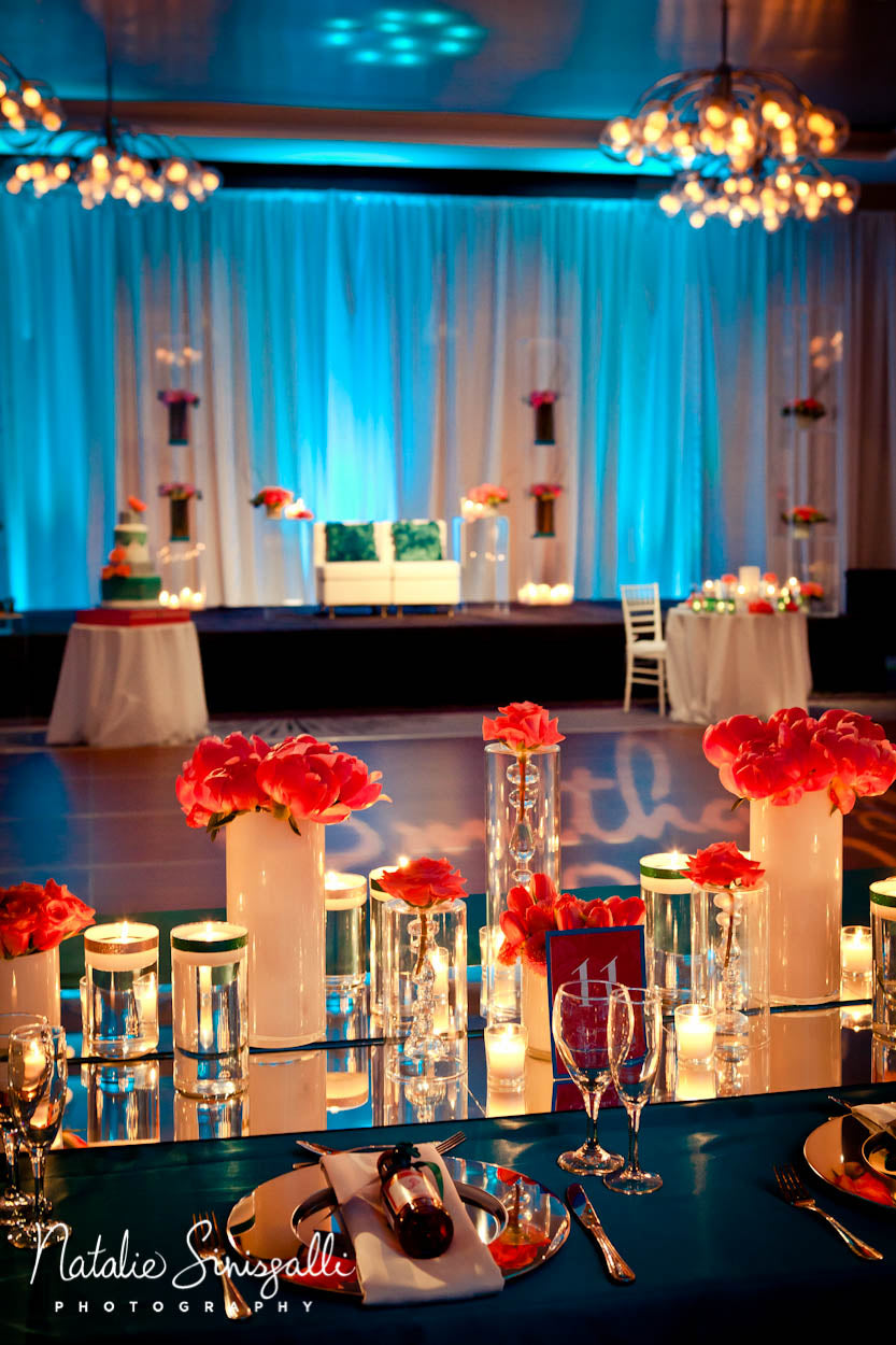 Coral Teal and Silver Wedding with Indian wedding stage