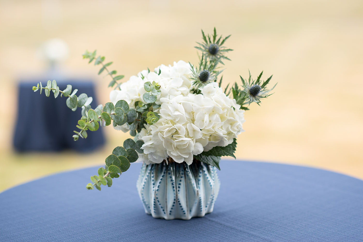 blue and white cocktail table centerpiece