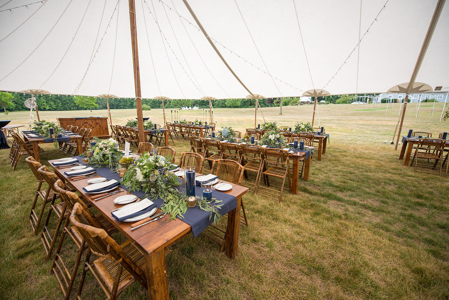 sperry tent with navy blue, white and green