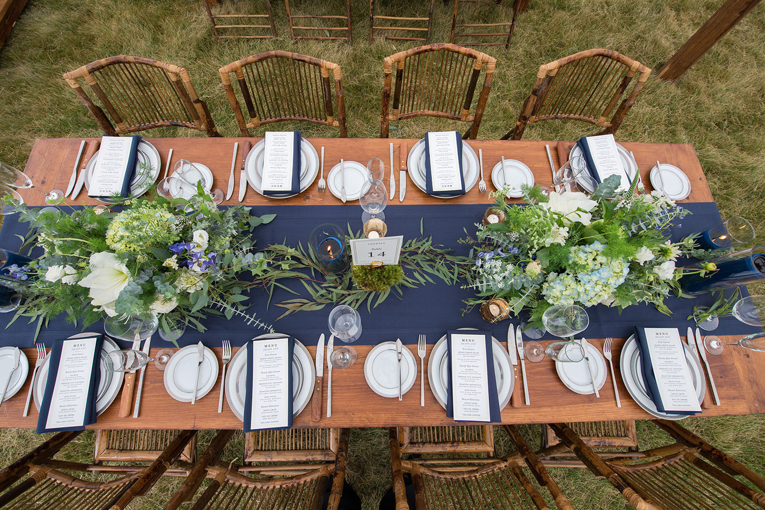 navy and white wedding with farm tables