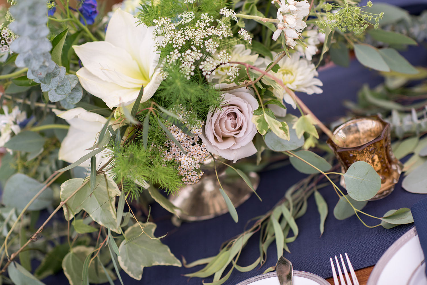 navy, white and green wedding flowers