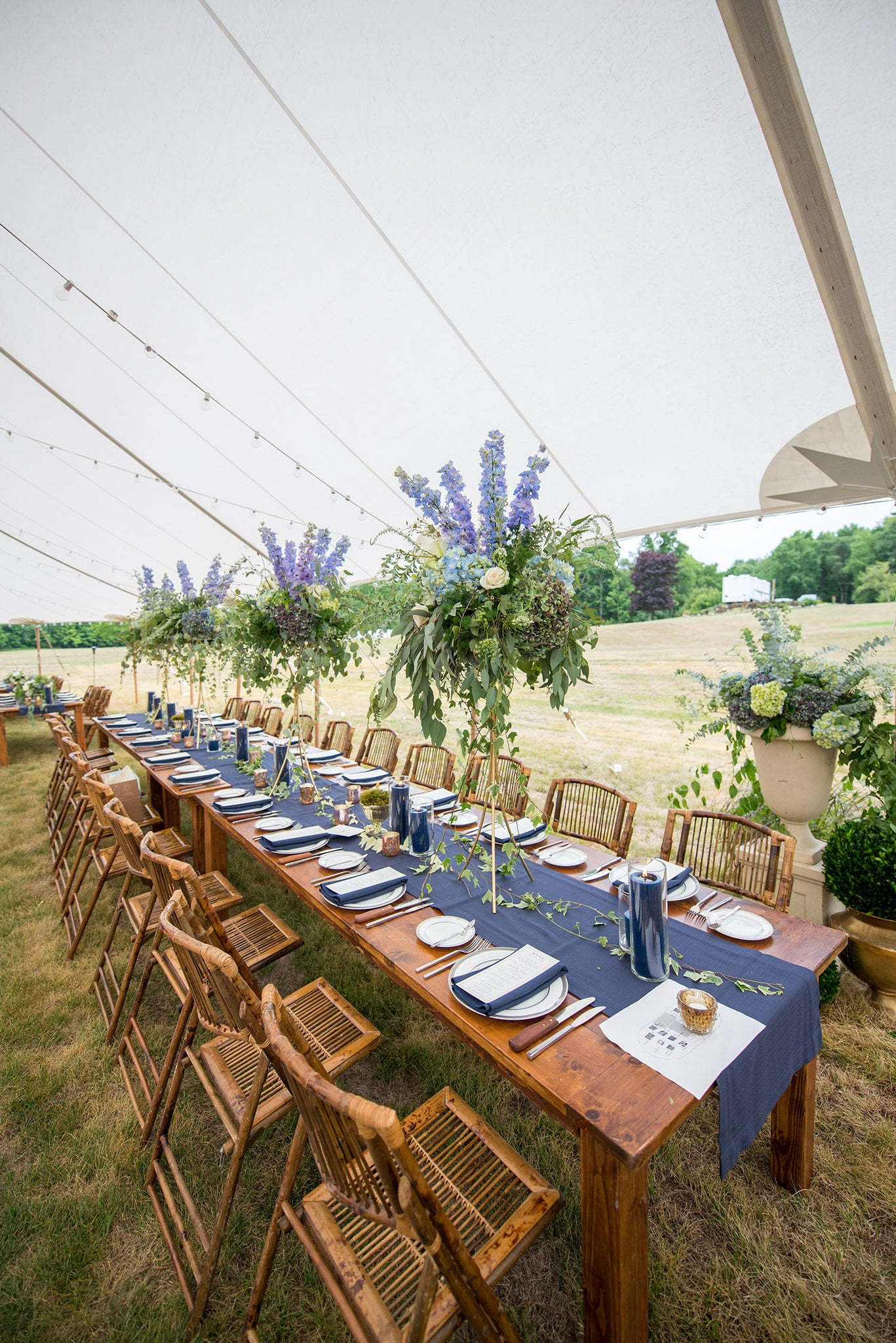 tall blue centerpieces for the head table