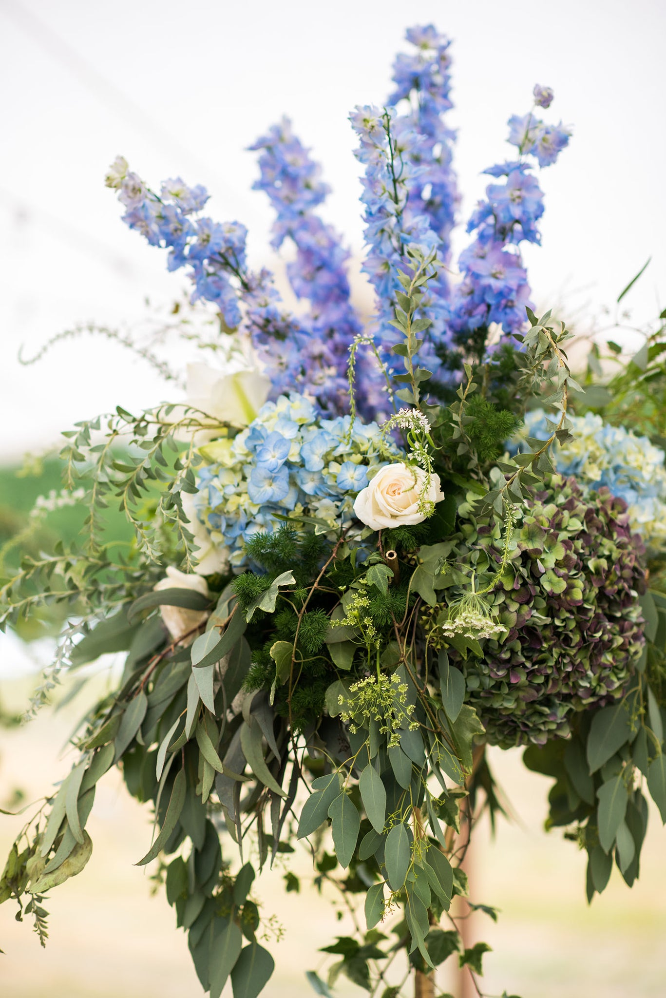 tall centerpiece in blue and gree