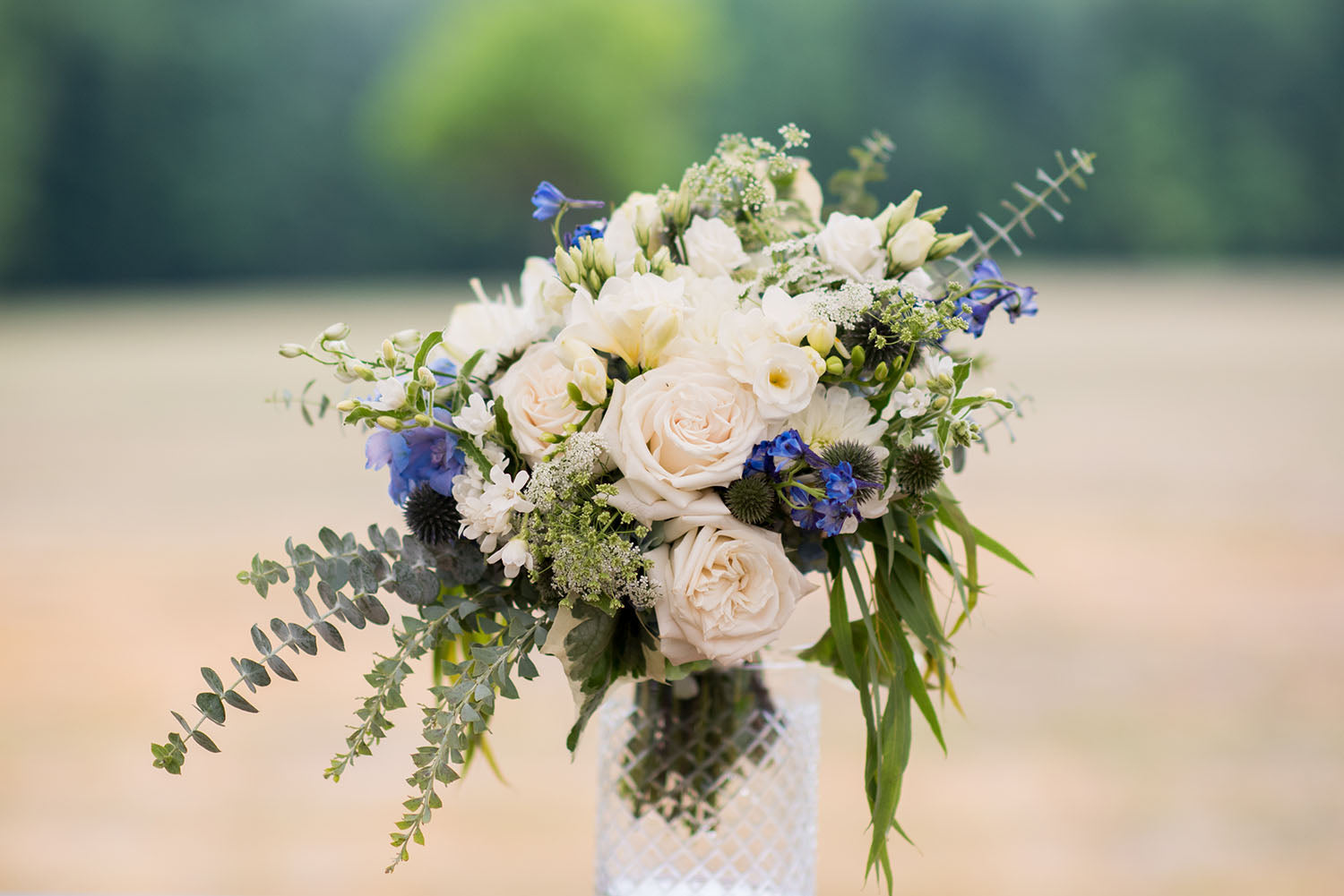 arrangement in greens, whites and blues