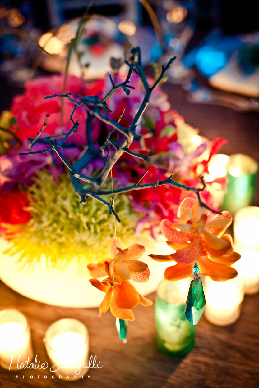 coral teal, lime gree, purple, and white low centerpiece for Indian wedding by Stacy K floral