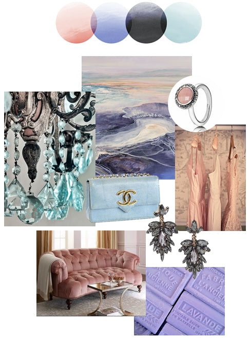 Palette Inspiration Board by Stacy K Floral| Color Story | Blush, Lavender, Slate, and Pale Blue