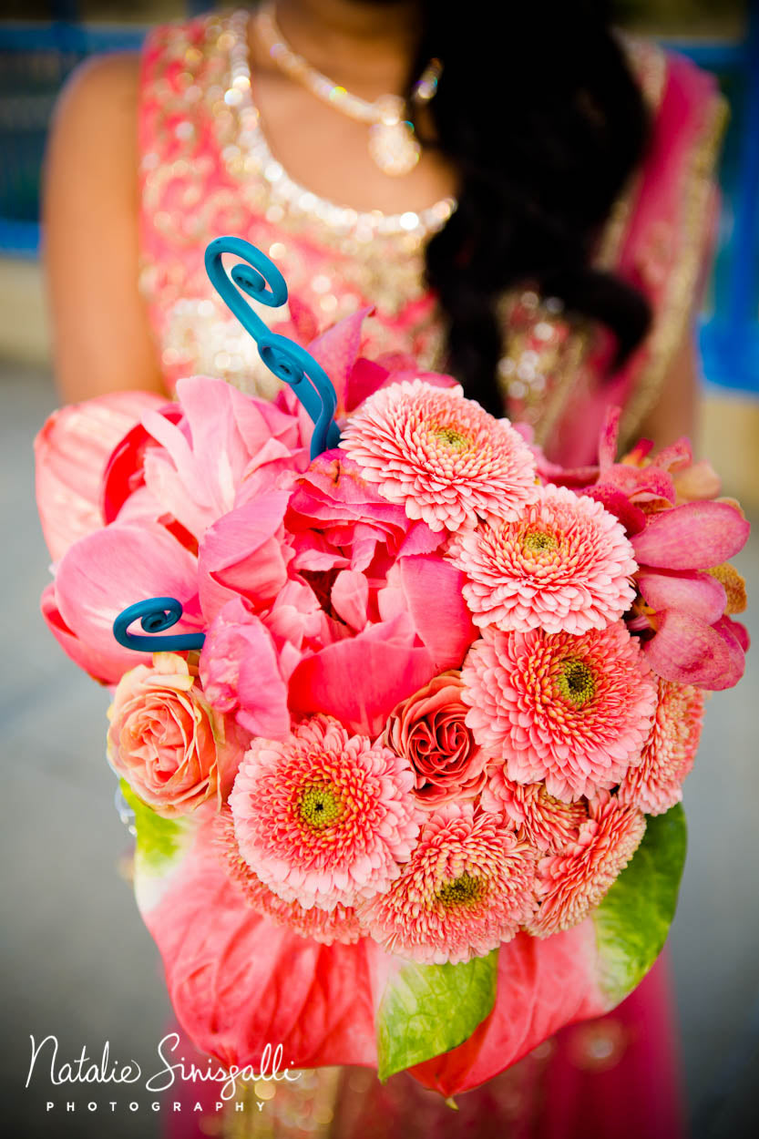 Coral Teal and Silver Wedding bouquet by Stacy K floral