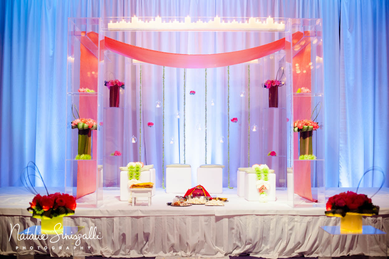 Coral Teal and Silver Wedding with clear wedding Mundhap